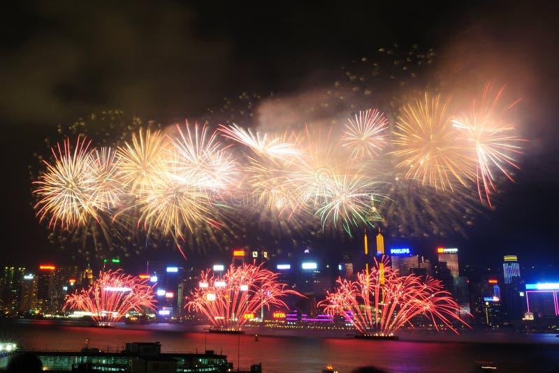 Hong Kong Colorful Firework em Victoria Harbour fotos de stock