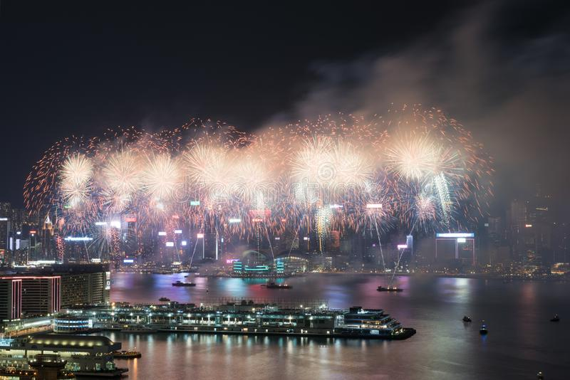 Hong Kong Colorful Firework in Victoria Harbour stock foto