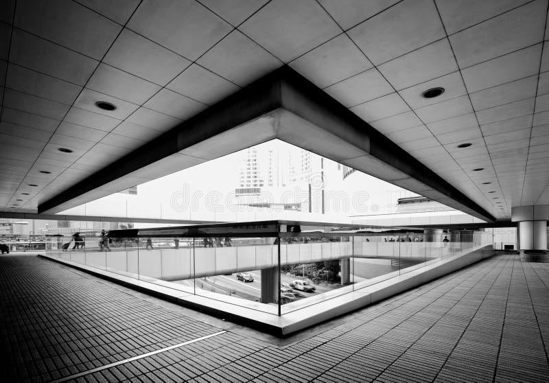 Hong Kong Commercial Building Black & branco foto de stock royalty free