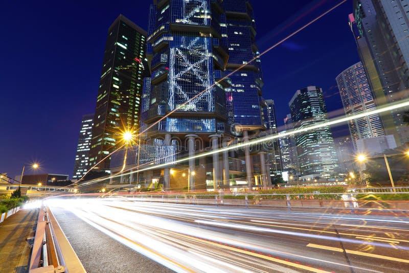 Hong Kong con la traccia di traffico immagine stock