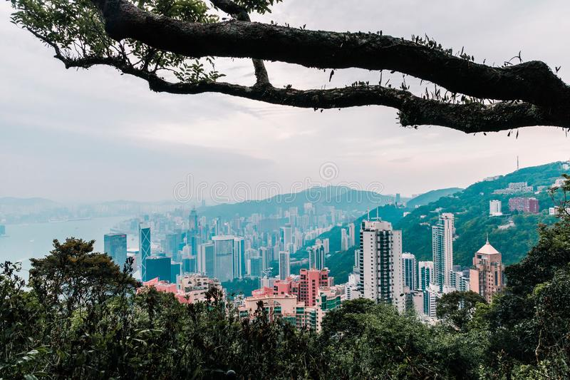 Hong Kong con una prospettiva diversa immagini stock