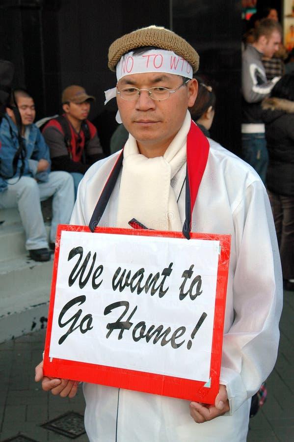 Hong Kong : Contact de protestation coréen de l'OMC photographie stock libre de droits