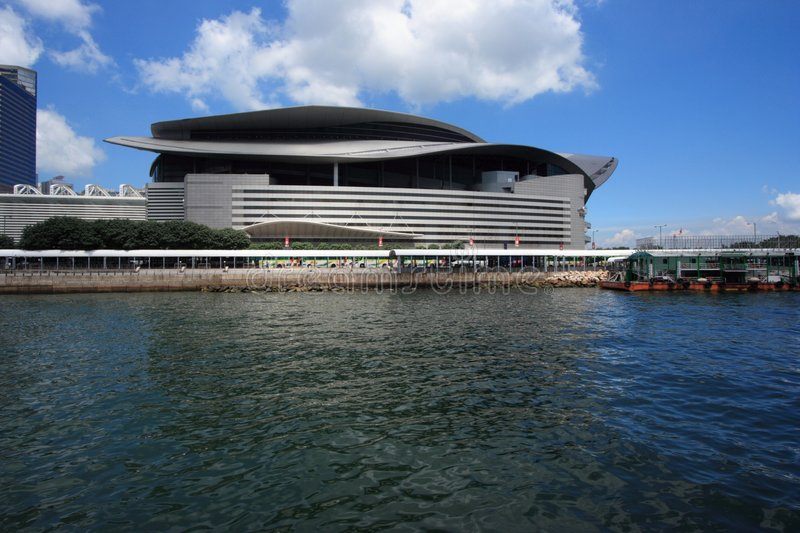 Hong Kong Convention And Exhibition Centre. Side view stock photos