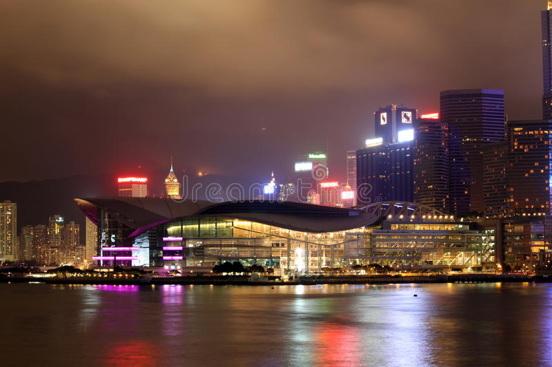 Download Hong Kong Convention And Exhibition Centre Editorial Photography - Image of night, hong: 14760917