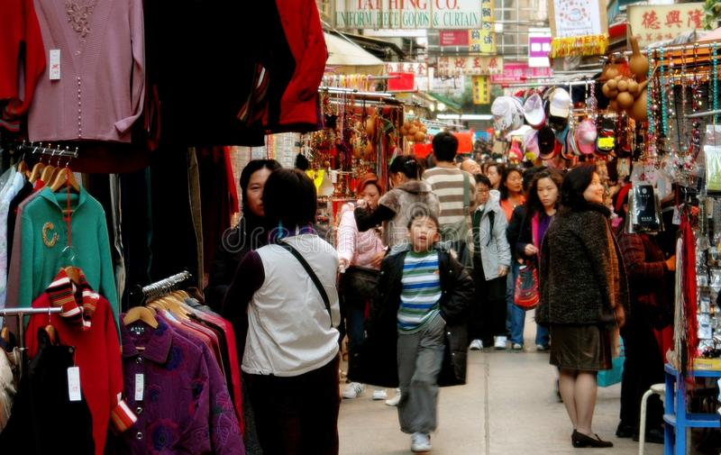 Hong Kong: Crowded Ladies' Market in Kowloon royalty free stock images
