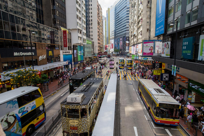 Hong Kong crowded street view. At shopping district royalty free stock image