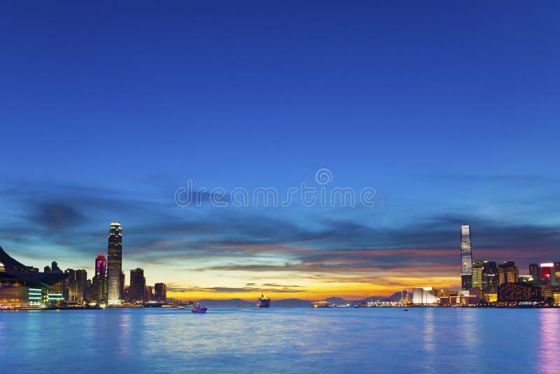 Hong Kong da baixa no por do sol fotografia de stock royalty free