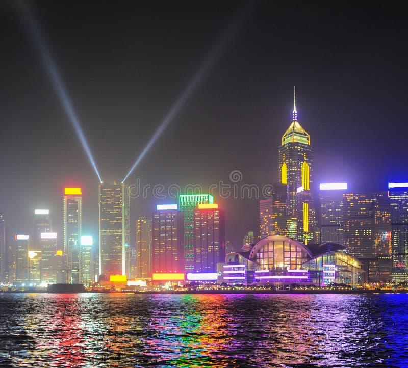 Hong Kong-de lichten tonen royalty-vrije stock fotografie