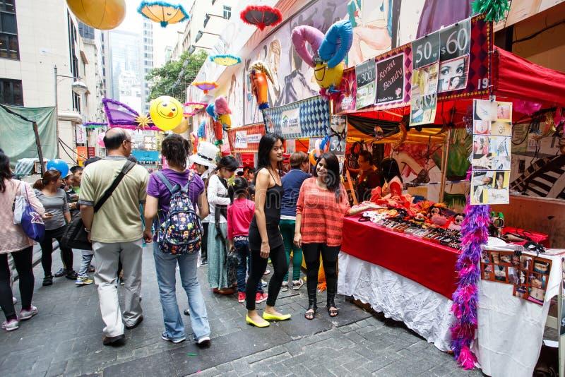 HONG KONG - 26 DE NOVIEMBRE DE 2013: El LKF ocupado (Lan Kwai Fong Festiv fotografía de archivo