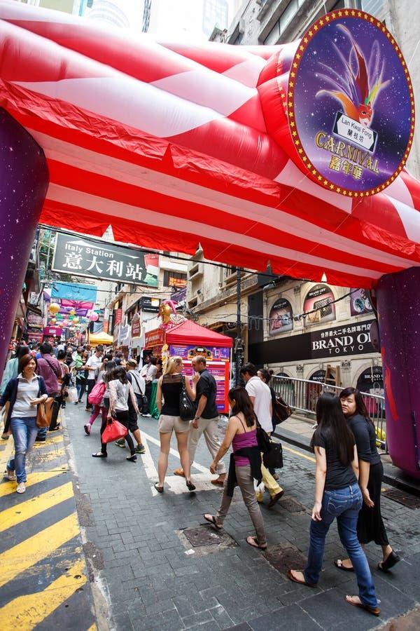 HONG KONG - 26 DE NOVIEMBRE DE 2013: El LKF ocupado (Lan Kwai Fong Festiv imagen de archivo libre de regalías