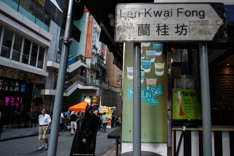 HONG KONG - 26 DE NOVIEMBRE DE 2013: El LKF ocupado (Lan Kwai Fong Festiv imágenes de archivo libres de regalías