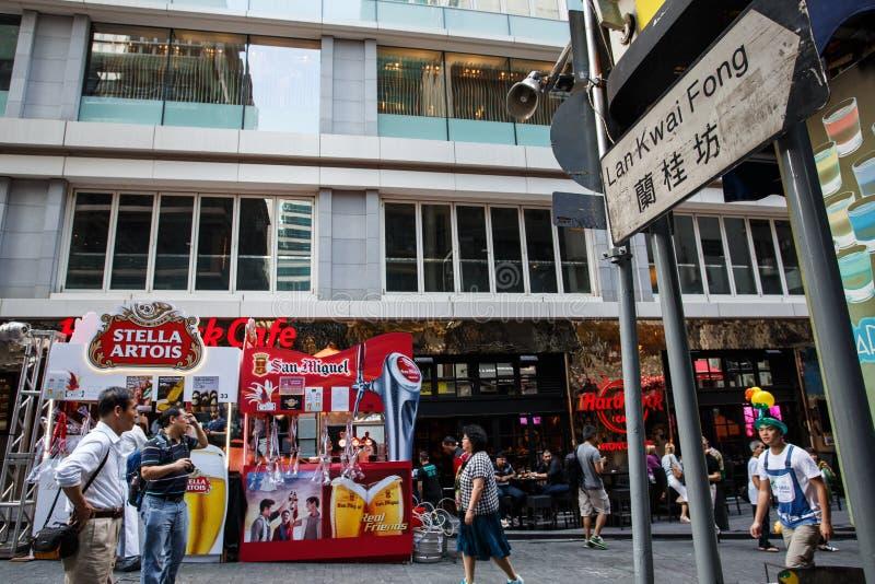 HONG KONG - 26 DE NOVIEMBRE DE 2013: El LKF ocupado (Lan Kwai Fong Festiv foto de archivo