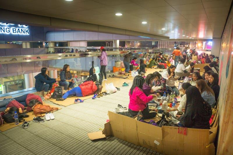 Hong-Kong-03 12 2017: De vakantie van Filipijnse mensen in HK stock foto's