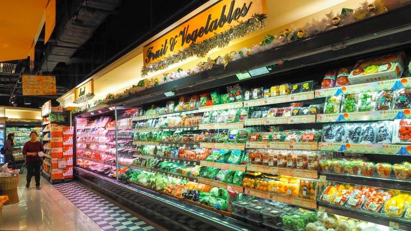 Hong Kong - DEC 11,2016: Vegetais que são populares no refrigerador dos supermercados imagens de stock royalty free