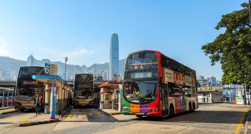 HONG KONG - DECEMBER 10, 2016: Bus station Victoria Harbor, on December 10, 2016 in Hong Kong. With a land mass of 1,104 km and a. Population of 7 million stock photo
