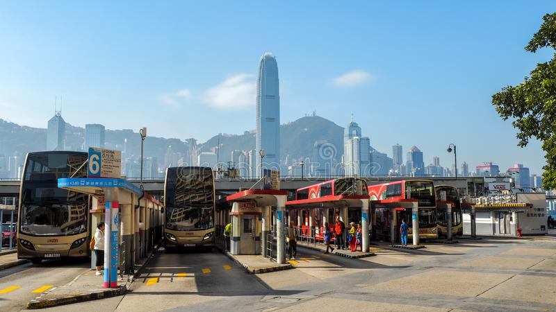 HONG KONG - DECEMBER 10, 2016: Bus station Victoria Harbor, on December 10, 2016 in Hong Kong. With a land mass of 1,104 km and a. Population of 7 million stock photos