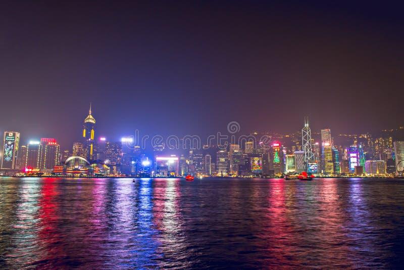 Hong Kong - December 9, 2017 Nytt år och julhorisontshi arkivfoton