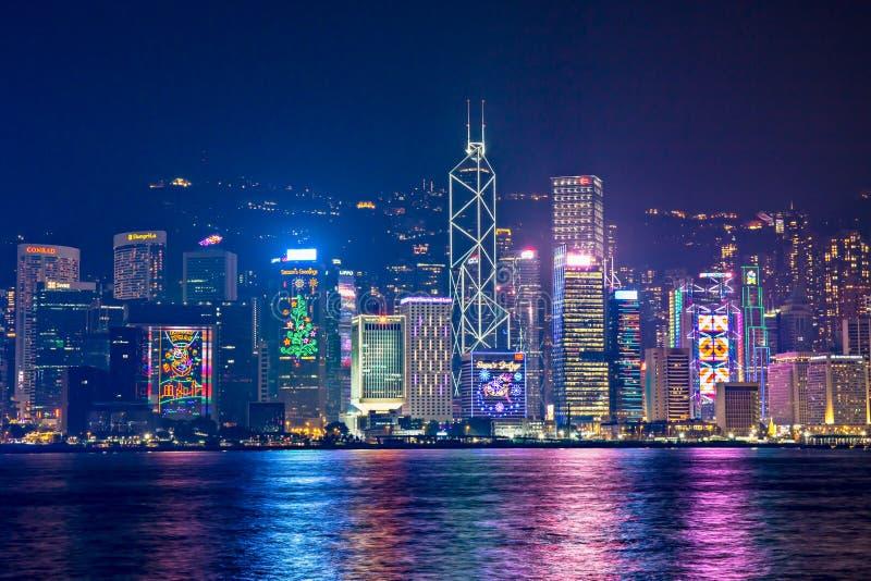 Hong Kong - December 9, 2017 Nytt år och julhorisontshi royaltyfri bild