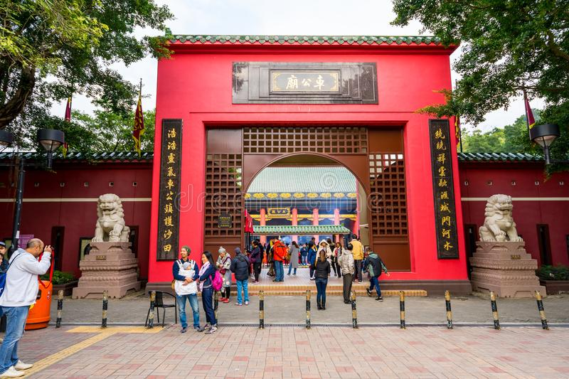 HONG KONG - DECTEMBER 17, 2017 : Pilgrims in the Che Kung taoist temple in Sha Tin, Hongkong. Taoism is a special way of belief pr. Actised mainly in Chinese stock photos