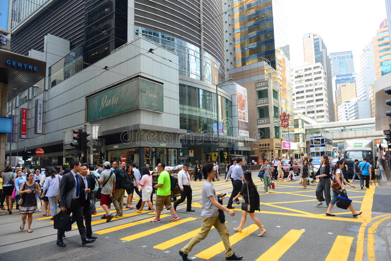 Hong Kong Des Voeux Road Central stock image