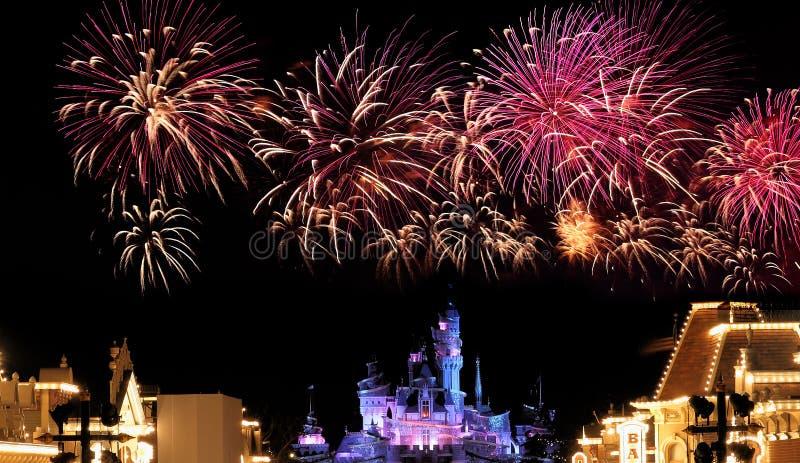 Hong kong disneyland fireworks royalty free stock photography