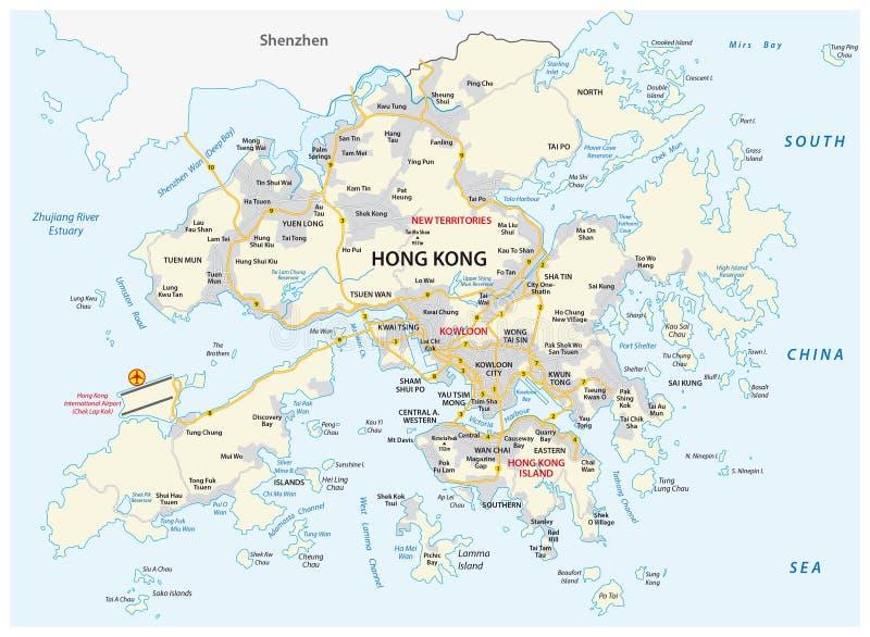 Hong Kong dodatku specjalnego Administracyjny region ludzie s republiki Porcelanowa drogowa wektorowa mapa ilustracja wektor