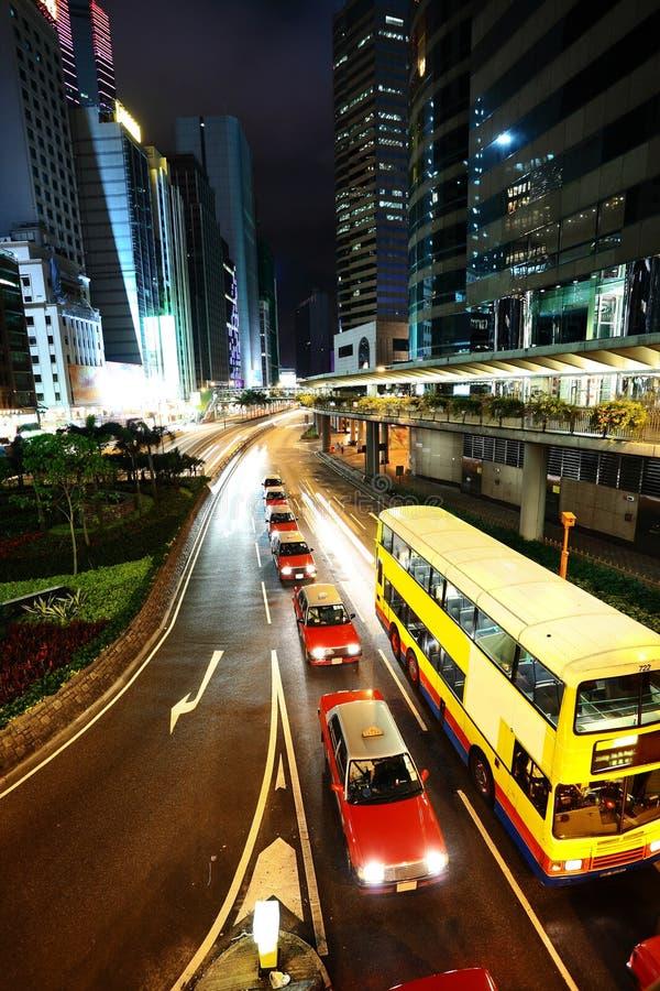 Hong Kong downtown at night stock image