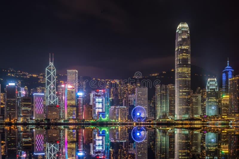 Hong Kong em a noite fotos de stock royalty free