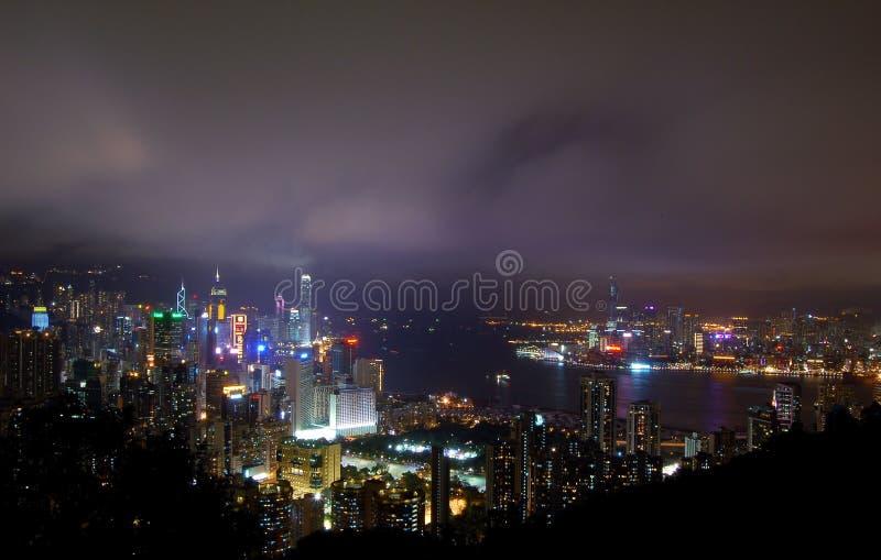 Hong Kong em a noite fotografia de stock