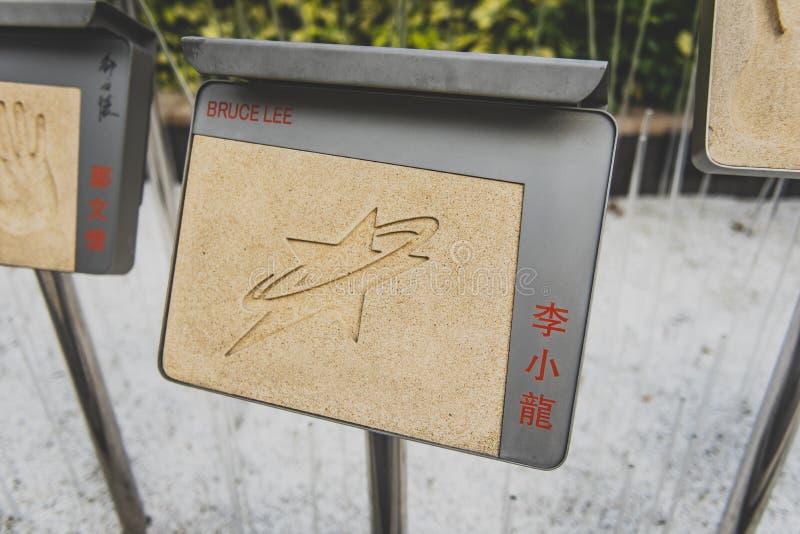 Hong Kong, em novembro de 2018 - avenida das estrelas, Bruce Lee foto de stock
