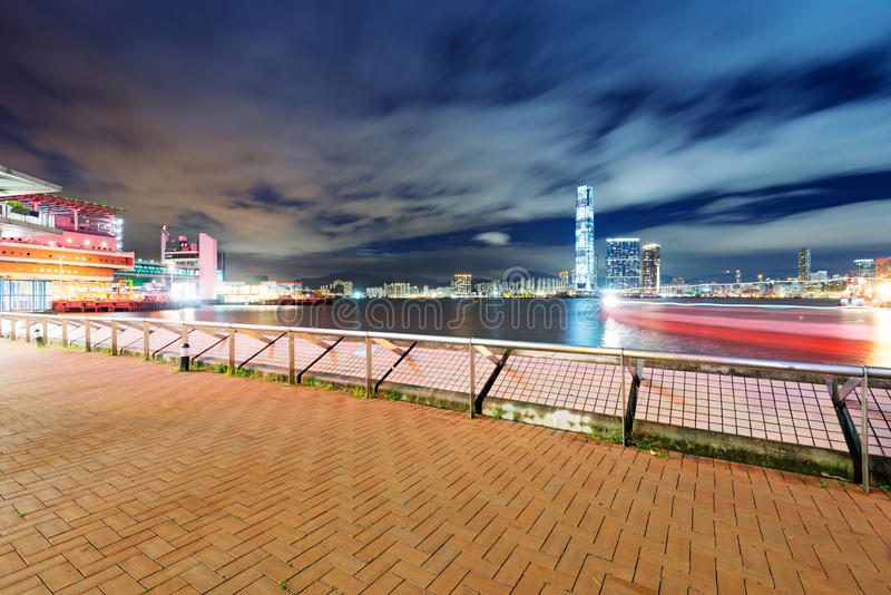 Hong Kong en la noche foto de archivo libre de regalías