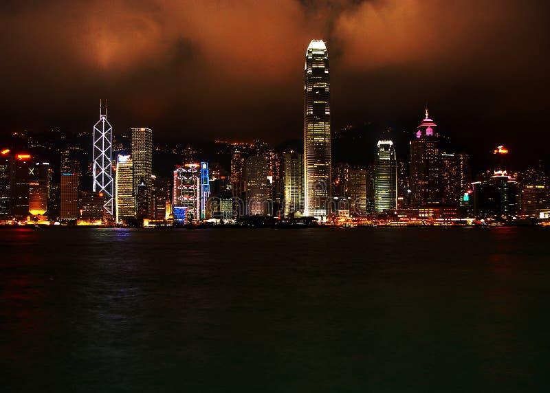 Hong Kong entro la notte fotografia stock