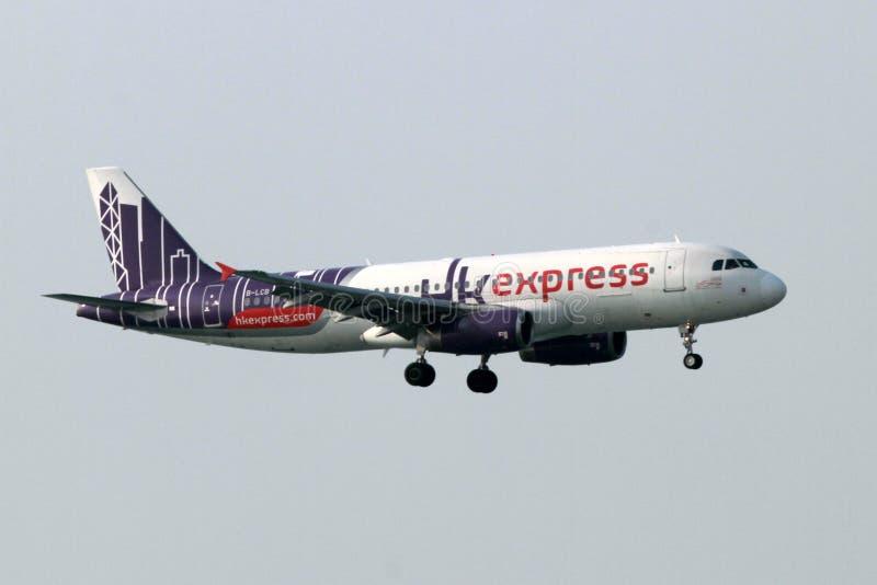 Hong Kong Express Aeroplane royaltyfri foto