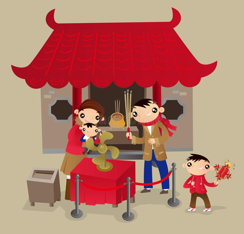 Hong Kong family go to Chinese temple during the Chinese New Year festival. Turning fan-bladed wheel of fortune for blessing good luck in coming year stock illustration