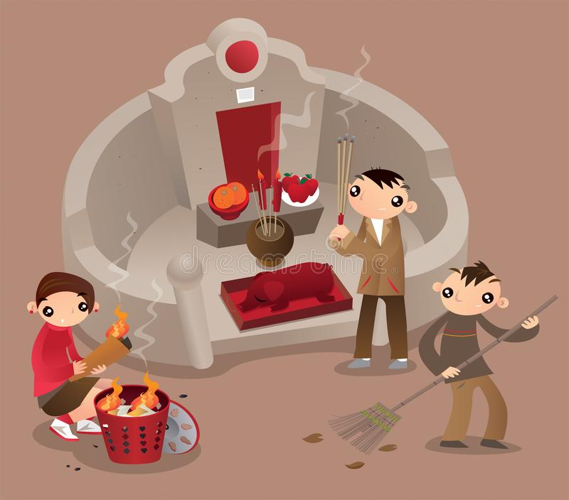 A Hong Kong family visit the tomb of their ancestors during Tomb-sweeping day royalty free illustration