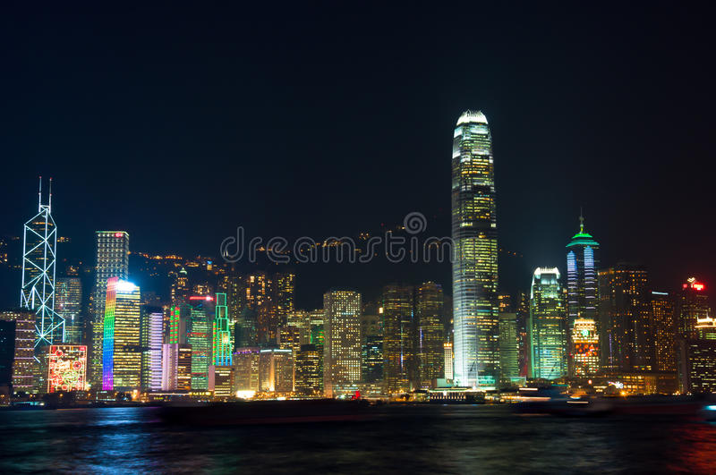 The Hong Kong famous night view of Victoria harbor. Hong Kong famous night view of Victoria harbor royalty free stock image
