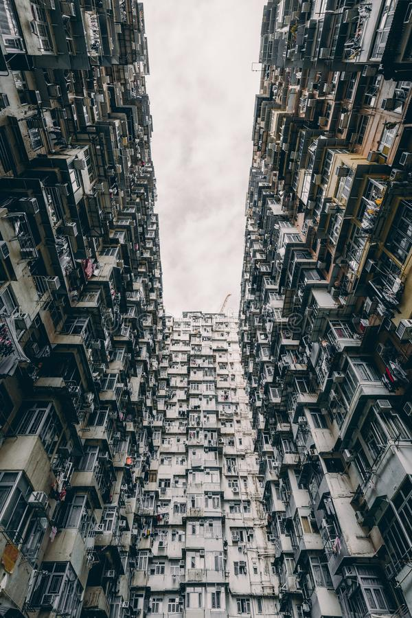 Hong Kong famous traditional residential building, Yick Fat Building near Quarry Bay stock photography