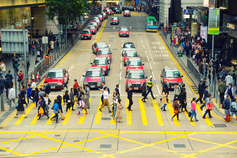 Hong Kong - February 23, 2017: Business downtown of Hong Kong an royalty free stock photography