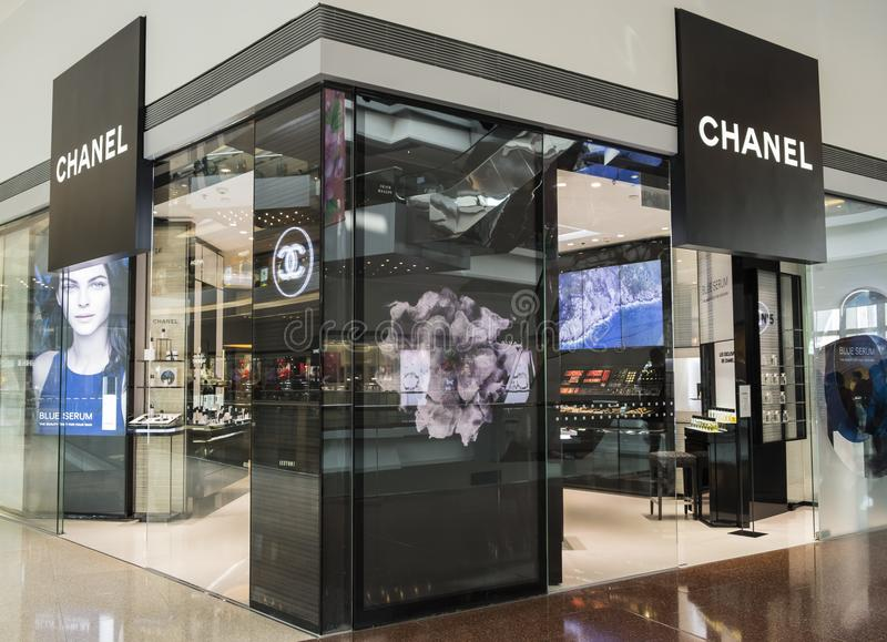 Chanel store in Hong Kong. Chanel operates some 310 Chanel boutiques worldwide. Since the 1990s. royalty free stock photo