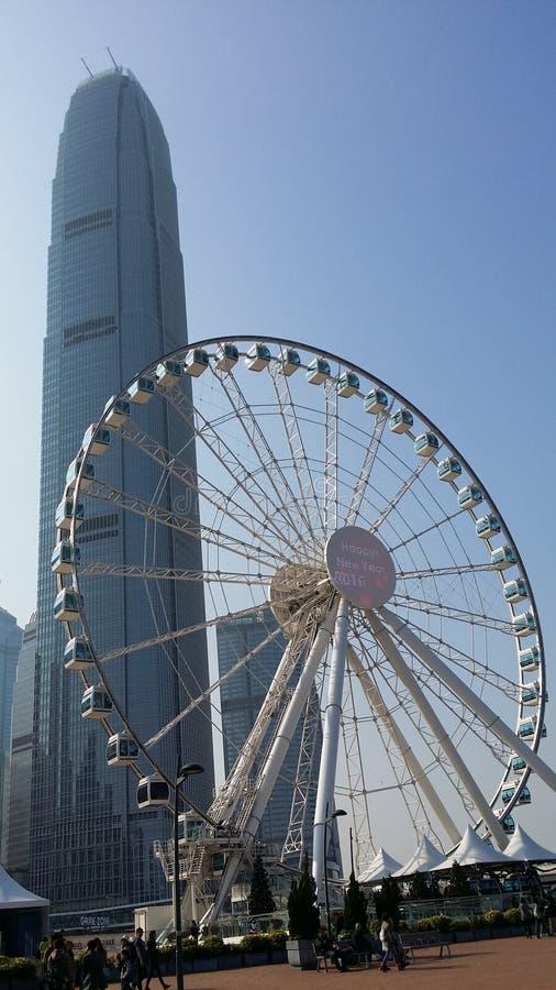 Hong Kong Ferris koło otwierał na Środkowym Harbourfront blisko IFC obraz stock