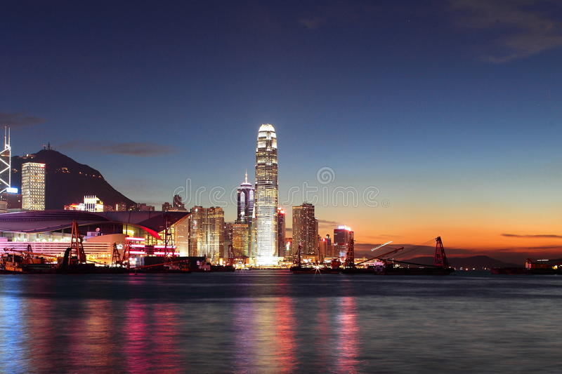 Download Hong Kong Finance Center With Sunset Stock Image - Image: 20833229
