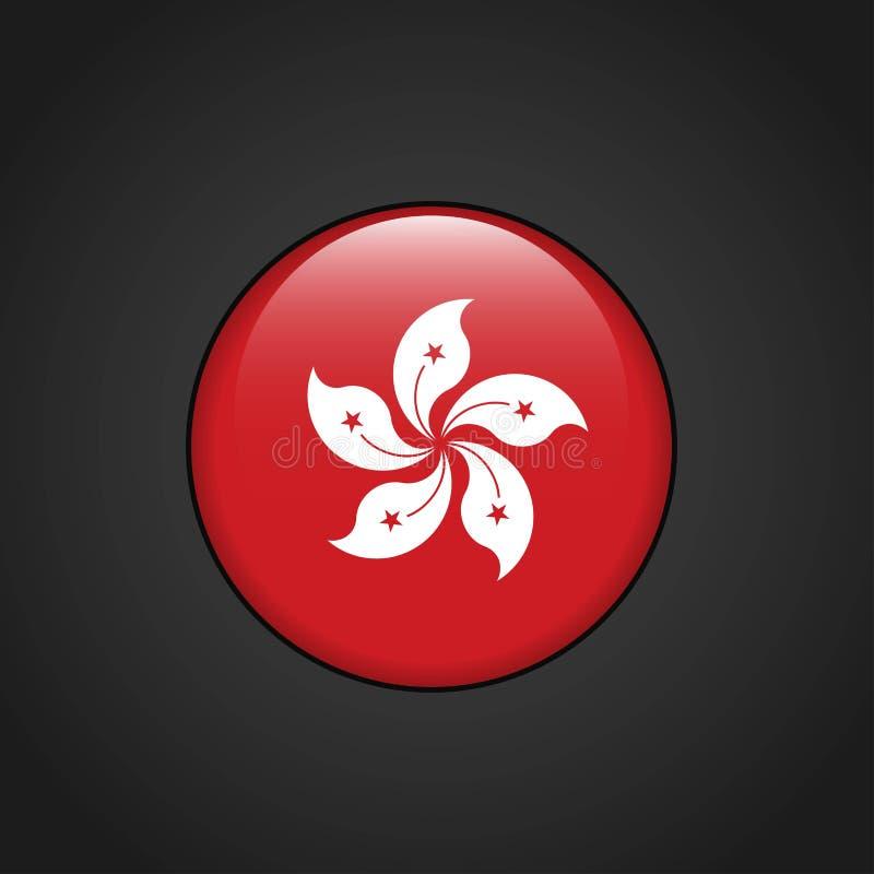 Hong Kong Flag Circle Button ilustração stock
