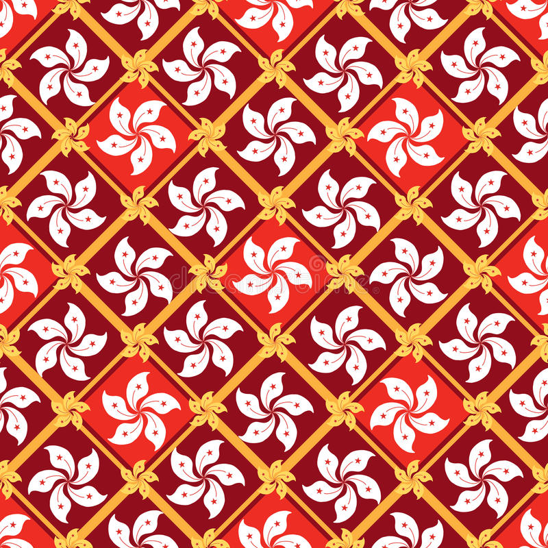 Hong Kong flag element diamond shape seamless pattern stock illustration