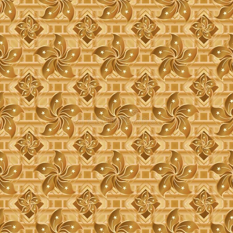 Hong Kong flag element golden seamless pattern vector illustration