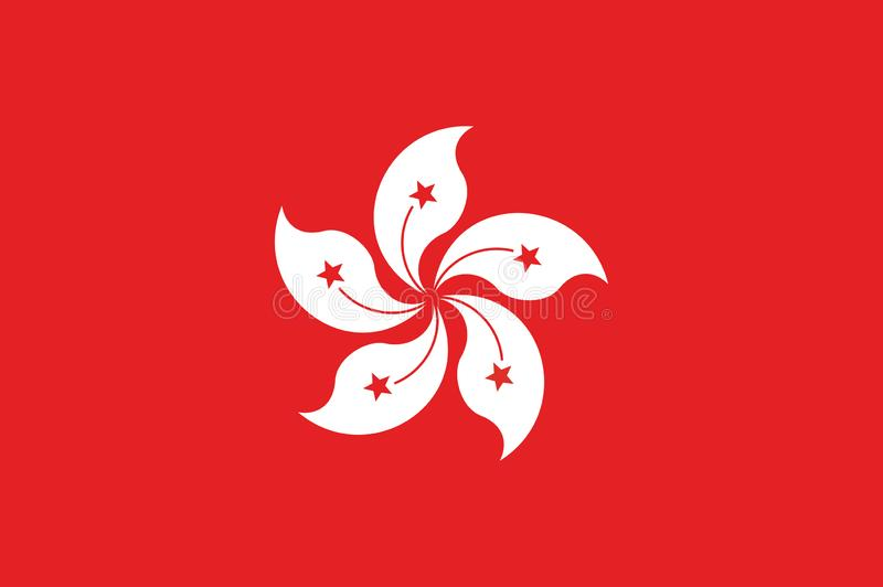 Hong kong flaga, urzędników kolory prawidłowo i proporcja, Obywatela Hong kong flaga ilustracja wektor