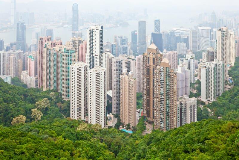 Hong Kong flyg- sikt från Victoria Peak arkivfoton