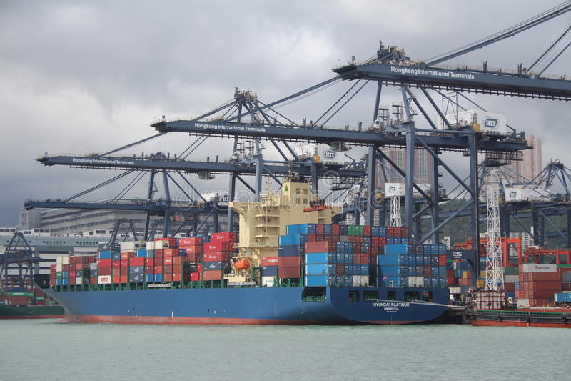 Hong Kong Freight Harbor royaltyfria foton