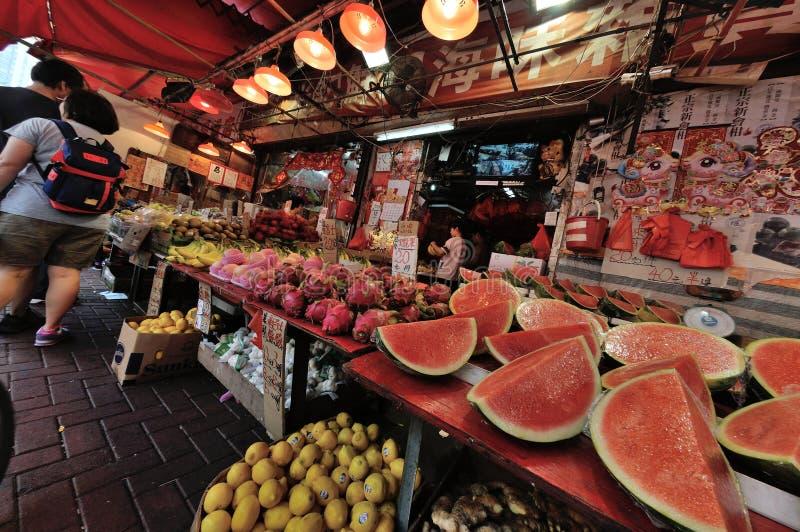 Hong Kong Fruit marknad royaltyfri foto