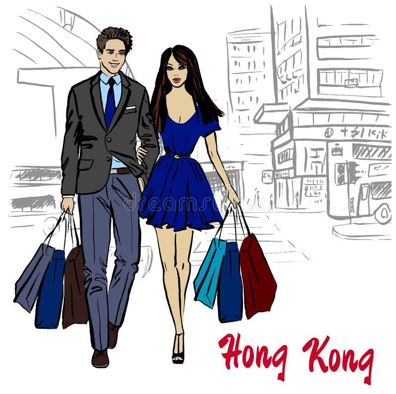 Hong Kong gata vektor illustrationer