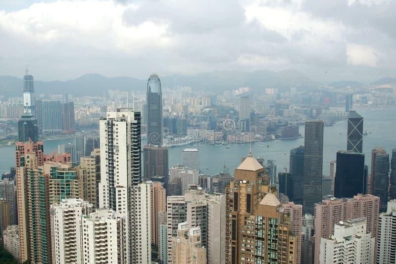 Hong Kong Harbor. A view of Hong Kong harbor with many top buildings from Victoria Peak in Hong Kong royalty free stock images